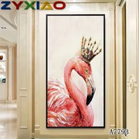 ingrosso stampa su tela rossa pittura a parete-ZYXIAO Big Size Pittura A Olio animale rosso Red-crowned crane King Home Decor su Tela Modern Wall Art Senza Cornice Stampa Poster foto A7793