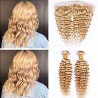 Wholesale honey brown hair weave online - Peruvian Human Hair Honey Blonde Bundles Deep Wave with Frontal Closure Light Brown Deep Wavy x4 Lace Frontal Middle Part with Weaves
