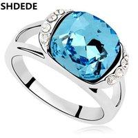 ingrosso anelli per grandi dita-all'ingrosso Fashion Blue Big Crystal da Swarovski Anelli per gioielli da sposa Fidanzamento per le donne Regalo di alta qualità -15488