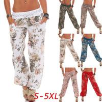 Wholesale plus woman yoga pants resale online - Floral Wide Leg Pants Women Printed Long Beach Pants High Waist Loose Elastic Waist Yoga Fitness Trousers LJJO6577