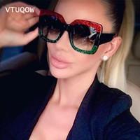 ingrosso occhiali da sole da donna oversize-New Italy Luxury oversize Square Sunglasses Women Designer di marca 2018 Retro Vintage Lady Sunglass Occhiali da sole femminili per le donne