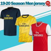 camisetas de fútbol azul al por mayor-2020 Gunners Inicio rojos jerseys ausentes del fútbol amarillo 19/20 Tercera azul profundo del club de fútbol de la Liga Gunners camisas de los hombres personalizados Uniformes de fútbol