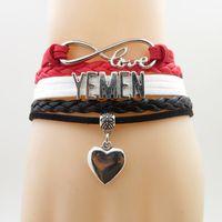 Wholesale infinity bracelets resale online - Infinity Love Yemen Bracelet Heart Charm Yemen National Flag Bracelets Bangles For Woman And Man Jewelry