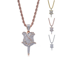 Wholesale titanium chains for men for sale - Group buy Hip Hop Jewelry Necklace For Men Iced Out Chains Rose Gold Silver Gold Zircon Retro Rose Flower Pendant Mens Necklace In Stock