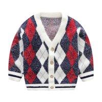 ropa de moda de visón al por mayor-niño menor de terciopelo clásico Mink Rombo niños suéteres cardigan jacquard diseñador de vestir de los niños outwear la chaqueta del suéter Boutique