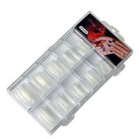 dedos falsos al por mayor-Tamax NA067 100pcs naturales transparentes francés uñas postizas de acrílico ultravioleta del gel manicura falsa artificial del clavo extremidades del arte del dedo caja de plástico Extensión