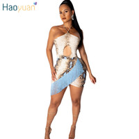 ingrosso vestito del ritaglio del bodycon-HAOYUAN Serpente Stampa Nappa Sexy Mini Abito Donna Estate Abiti Ritaglio Off Shoulder Backless Bodycon Dress Party Club Abiti