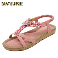 Wholesale bohemian womens sandals for sale - Group buy Mvvjke Bohemian Summer Shoes Sweet Womens Flowers Flat Sandals High Quality Rhinestones Casual Flats Plus Size Sandalias GMX190705