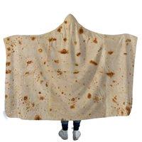 теплые флисовые одеяла оптовых-Творческий мексиканский Тортилла одеяло с капюшоном Мягкое теплое детское одеяло с капюшоном шерпа шерсти Snuggle носимые одеяла для детей 130 см * 150 см