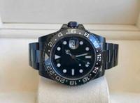 мужские синие керамические часы оптовых-Мужские превосходные 40 мм керамический безель GMT 116710 116710LN черный PVD корпус Сапфир Азия 2813 механизм с автоподзаводом мужские синий glow часы