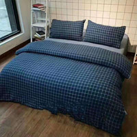 Wholesale chinese style quilts for sale - Group buy Washed Cotton Stripe Four Piece Suit Reactive Printing And Dyeing Quilt Cover Home Textiles Pillow Case On The Bed Lattice wlb1