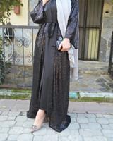 ingrosso abito maxi da partito musulmano-Musulmano Paillettes Abaya Cardigan Party Maxi Abito Lungo Abito Robe Kimono Tunica Medio Oriente Ramadan Arabo Islamico Abbigliamento di preghiera