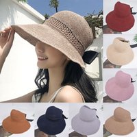 Wholesale foldable big sun hat resale online - Cotton Foldable Big Straw Hats Knitted Empty Top Breathable Sun Hat For Women Outdoor Sunscreen Beach Hat Cute Bow Sunshade Cap