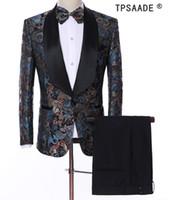 ingrosso colletto di bowtie-TPSAADE Modello Uomo Abiti Costume Made Plus Size Scialle Colletto Smoking (Giacca + Pant + Vest + Bowtie) Moda Uomo Blazer Suit Costume
