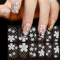 Wholesale acrylic sheet art resale online - 1 Sheet Flower Nail Art Stickers White Lace Nail Sticker Acrylic Flower Adhesive Decals Rose Gold Stickers