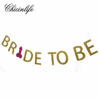 bannière de la mariée achat en gros de-Chicinlife Glitter Bride To Be Penis Banner Bridal Shower Photo Props Bachelorette Hen Night Party bannière De Mariage Décoration