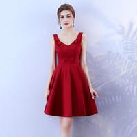 свадебное мини-вино оптовых-Красное вино Мини-платье Платье для невесты Женское свадебное платье Назад