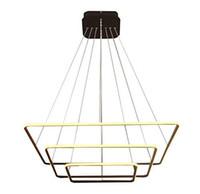 iluminación colgante contemporánea al por mayor-Cuadrado moderno Led Araña Lámpara colgante ajustable Colección de tres anillos Techo contemporáneo Luz colgante