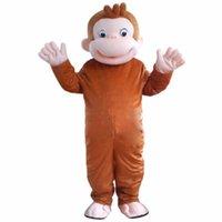 fantasia de macaco halloween fantasia de adulto venda por atacado-Novo Estilo Curioso George Macaco Mascote Trajes Dos Desenhos Animados Fancy Dress Halloween Traje Do Partido Adulto Tamanho Frete Grátis