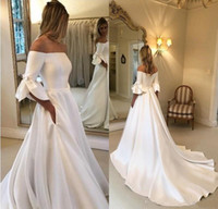 Wholesale simple elegant long sleeve wedding dresses for sale - Group buy 2020 Elegant Satin A line Wedding Dresses Half Sleeves Off the Shoulder Wedding Gowns Covered Buttons Sweep Train Bridal Dress