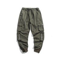 pantalones de hip hop verde militar al por mayor-MORUANCLE Hombres Pantalones de carga ocasionales con bolsillos múltiples Hip Hop Harem Pantalones tácticos para hombre Cintura elástica Ejército Verde Negro