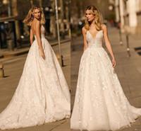 Wholesale neck dress summer resale online - 2019 Berta New Full Lace Wedding Dresses Plunging Neck A Line Appliques Open Back Long Bridal Gowns BC2207
