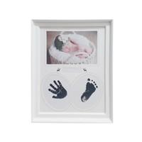photo de fille de bébés achat en gros de-Ensemble de cadre photo d'empreinte de pas pour bébé pour garçons et filles nouveau-nés