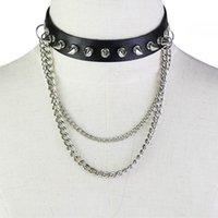 Femmes gothique punk en cuir Collier Tour de cou rond cercle anneau pendentif Rivet Col