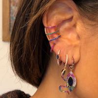 schicke schmuck für frauen großhandel-rosafarbenes Gold überzog 3 Farben cz Kreisclip auf Ohrringen Art- und Weisefrauen-Chicschmucksachen keine durchdringenden Ohrstulpe
