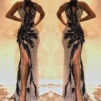 frente de encaje de cristal al por mayor-Vestidos de fiesta de sirena de encaje dividido de lado alto sexy Cuello de cerradura Vestidos de noche sin espalda con cuentas de cristal Vestido de celebridad con abertura en el frente BC0493