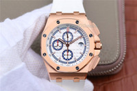 wo oro al por mayor-Versión mejorada de lujo de alta calidad RELOJ Sapphire vk etiqueta 44 mm Royal Oak Offshore cuarzo cronógrafo de oro rosa 26408 Rubbe impermeable wa