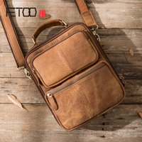 Wholesale messenger bags sections resale online - AETOO Original retro leather men s matte leather casual shoulder Messenger bag vertical section crazy horse skin men bag handbag