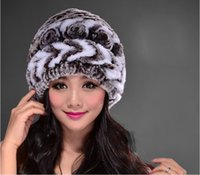Wholesale golf liner for sale - Group buy IANLAN Winter Casual Real Fur Beanies Women Rex Rabbit Fur Hats Ladies Striped Fur Caps with Knitting Liner Skullies