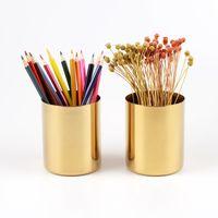 vasos de suporte venda por atacado-400ml de bronze vaso do ouro inoxidável Cilindro Pen Aço titular para Organizadores Desk Stand multi Use lápis Pot Holder Cup conter RRA2060