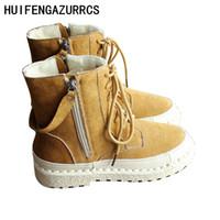 fass schuhe großhandel-HUIFENGAZURRCS-Mid-Barrel-Stiefel mit Samt und warmen Stiefeln Hanshu Style Literature und Art Retro Shoes Leisure mit weichen Sohlen