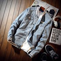 beyzbol giysileri toptan satış-Moda Jean Ceket ve Mont Bahar Sonbahar Erkek Pilot Ceket Denim Erkek Ceketler Rahat Bombacı Beyzbol Giyim Erkekler