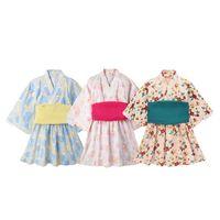 азиатские девушки платья оптовых-Девочка комбинезон Японский стиль Каваи девушки цветочный принт Кимоно платье для детей костюм младенческой юката азиатской одежды