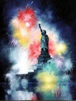 heykel özgürlük duvarı toptan satış-Liberty Ev Dekorasyonu Handpainted HD Thomas Kinkade Marty Bell Heykeli Yağ On Tuval Wall Art Canvas Resimler 200.130 Boyama yazdır