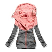 tipo de paño de mujer al por mayor-Oversize doble sudadera con capucha mujer manga larga otoño primavera abrigo patchwork bolsillo cremallera sudadera con capucha más tamaño 3XL 4XL 5XL