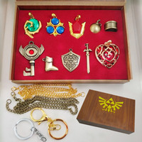 Wholesale zelda jewelry for sale - Group buy The Legend Of Zelda Arts Crafts Collection Sets Hylian Shield Master Sword Keychain Necklace Pendants Kids Jewelry Toys set XD20068
