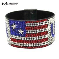 drapeau magnétique achat en gros de-Meetcute Mode Full Strass Drapeau Américain Bracelets Bracelets Bracelets Diy Étoile Magnétique Bracelets En Métal Pour Les Femmes Homme Bijoux Cadeau