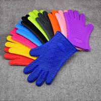 Wholesale gloves cooking for sale - Group buy Oven Silicone Gloves Microwave Oven Mitts Slip resistant Bakeware Kitchen Cooking cake Baking Tools insulated Glove LJJA3593