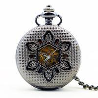 colar de relógio de bolso antigo de prata venda por atacado-Clássico Do Vintage De Prata Antigo Oco Out Flores relógio de bolso mecânico colar de pingente para Homens PJX1154