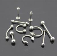 kertenkele kulakları toptan satış-M 316L Paslanmaz Çelik Kulak Damızlık Göbek / Meme / Burun / Dudak / Dil Yüzükler Bar Halter Vücut Piercing Takı