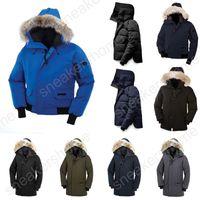chaqueta de bombardero hombres venta al por mayor-venta caliente clásico Canadá Chillwack Borden hombres por la chaqueta de bombardero de piel con capucha caliente del invierno castillo Langford parka abrigo al aire libre doudoune