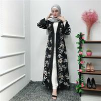 islamische kleider mode großhandel-NEUE Sommer erfrischende muslimische Mode drucken elegante Robe Kleid islamische Ramadan Kaftan Kleidung Kaftan arabische Gebet Cardigan