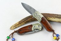 Wholesale best smallest folding knife for sale - Group buy Utiltiy Tool Damascus Small Survival Folding Knife Wood Handle HRC EDC Outdoor Tactical Pocket Campign Hunting Knives Best Gift P249R F