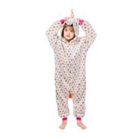 niños cosplay chicos disfraces al por mayor-Niños Unicornio Pijamas Bebé con capucha Unicornio Ropa de dormir Niños Niñas Dibujos animados Onesies Niños Franela Animal Cosplay Disfraz Mamelucos GGA2455