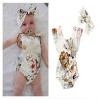 sırsız bodysuit tulum toptan satış-Bebek Romper Tulumlar Çiçek Baskı Backless Kolsuz Ruffled Kız Romper + Kafa 2 ADET Set INS Bebek Bodysuit Çocuk Giyim A32105