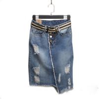 jeans frauen größe 33 großhandel-Plus Größe 5xl Röcke frauen Denim Rock Frühling Sommer Kurze Jean Rock Hohe Taille War Dünn Paket Hüfte Frauen Röcke Y19043002